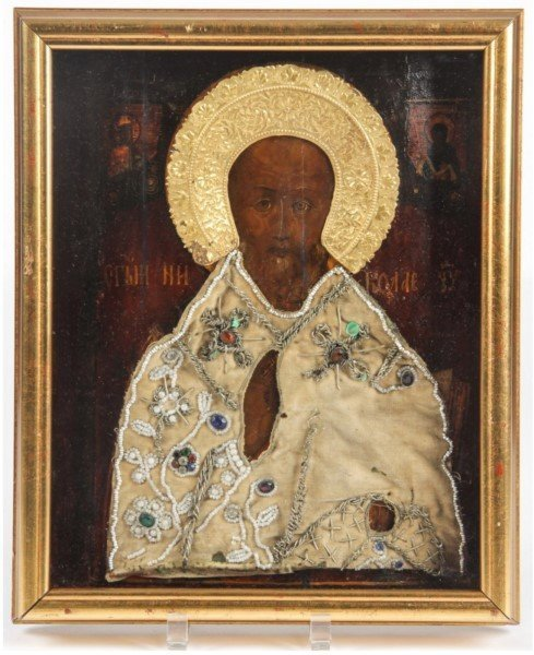 ANTIQUE 19TH C BEADED RUSSIAN ICON OF ST. NICHOLAS