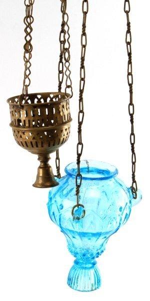 19TH CENTURY RUSSIAN LAMPADA LOT OF TWO BRASS