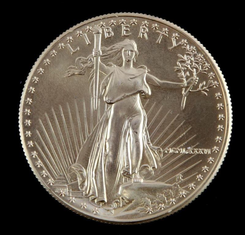 1986 GOLD AMERICAN EAGLE $50 1 OZT BU COIN