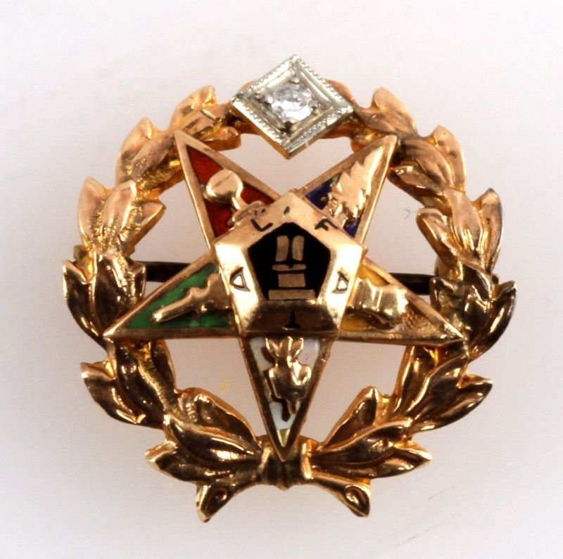 ORDER OF THE EASTERN STAR 10 KT GOLD PIN FATAL