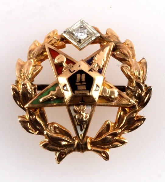 ORDER OF THE EASTERN STAR 10 KT GOLD PIN FATAL - 2