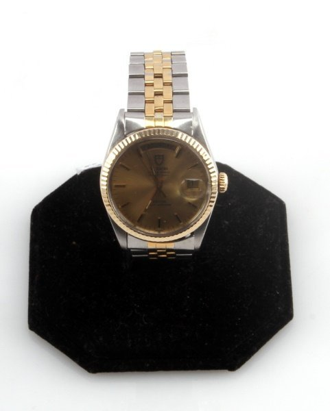 TUDOR OYSTER PRINCE DAY DATE TWO TONE WRIST WATCH