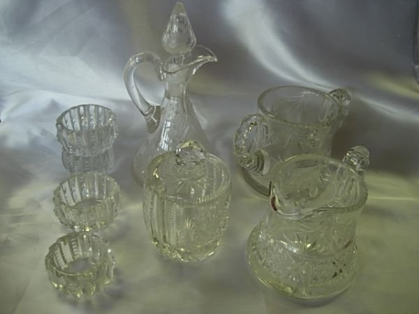 10008: ANTIQUE ETCHED CUT AB GLASS CRYSTAL CONDIMENT
