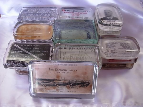 10020: ANTIQUE GLASS ADVERTISING PAPERWEIGHTS LOT OF 26