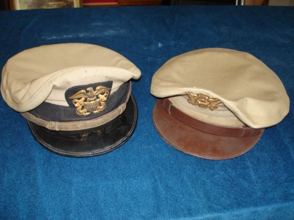 8: WWII US NAVY US ARMY OFFICER HAT LOT CRUSHER TYPE NA