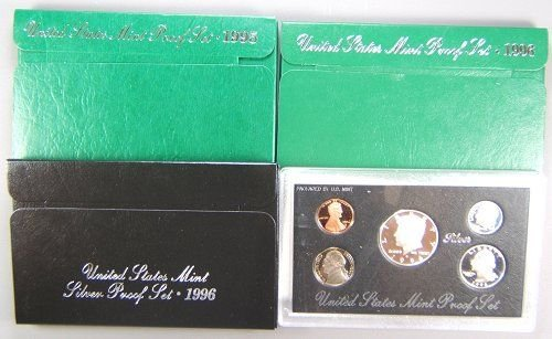 3: US MINT PROOF SET LOT OF 3 1995-S,96-S,96-S SILVER