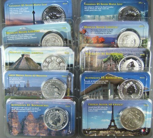 11: WORLD SILVER COIN LOT OF 10 COMMEMS 10 OZ SILVER