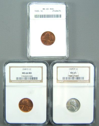 19: LINCOLN CENT BU CERTIFIED LOT OF 3 1935,43-D,49-S