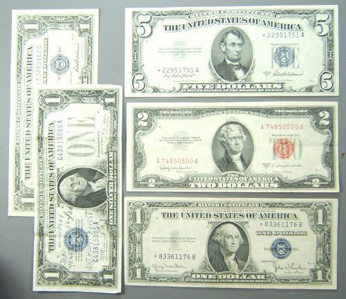 47: SILVER CERTIFICATE $2 DOLLAR LOT OF 5