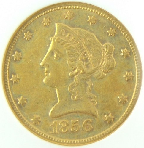 293: 1856 O GOLD $10 PITTMAN AU55 NGC LOW MINTAGE GOLD