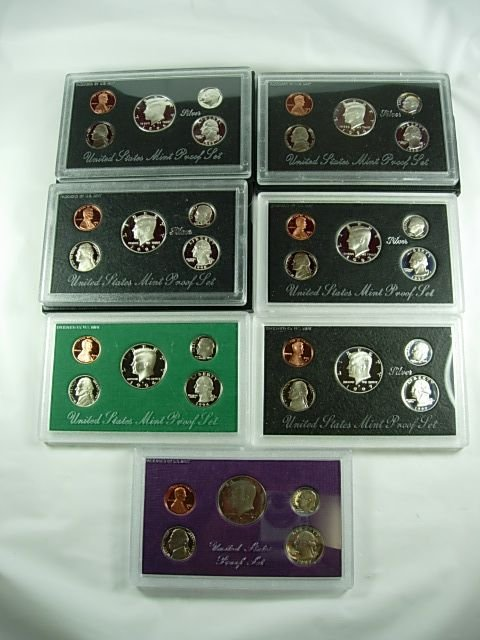 515: US MINT PROOF SET LOT OF 10, 8 SILVER, 2 CLAD