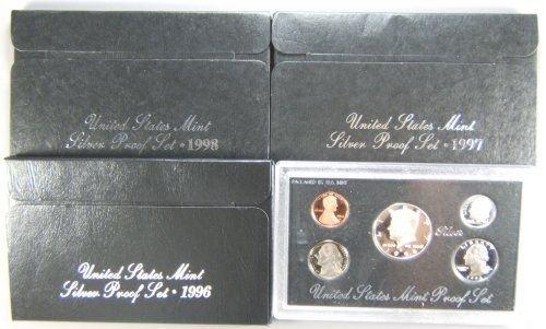 4: US MINT SILVER PROOF SET LOT OF 3, 1996, 1997, 1998