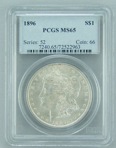 8: 1896 MORGAN SILVER DOLLAR PCGS MS 65