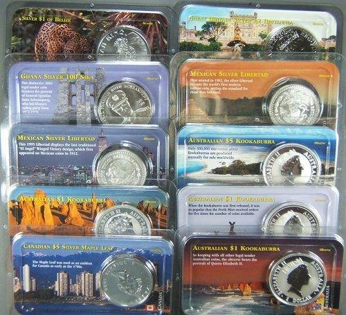 12: WORLD SILVER COIN LOT OF 10 COMMEMS 10 OZ SILVER