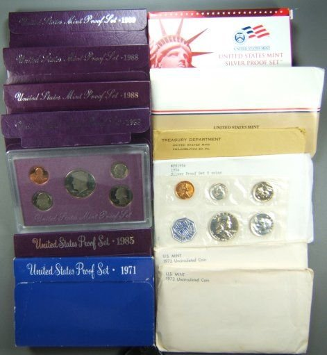 14: US MINT AND PROOF SETS LOT OF 11 + 1956 SILVER SET