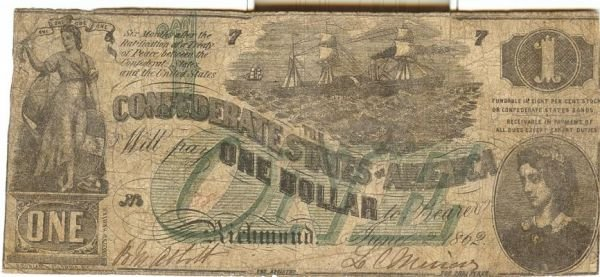 48: CSA CONFEDERATE $1 DOLLAR BILL 1862 GOOD CONDITION