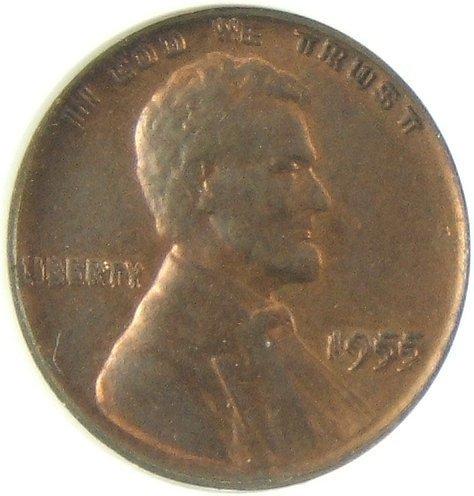 172: 1955 DOUBLE DIE OBVERSE LINCOLN CENT AU 50 DETAILS