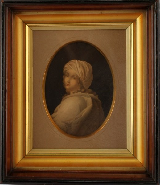 ANTIQUE LITHOGRAPH OF YOUNG WOMAN IN ANTIQUE FRAME