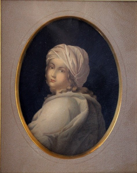ANTIQUE LITHOGRAPH OF YOUNG WOMAN IN ANTIQUE FRAME - 2