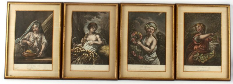4 PIECE LOT OF VINTAGE FRAMED COLORED LITHOGRAPHS