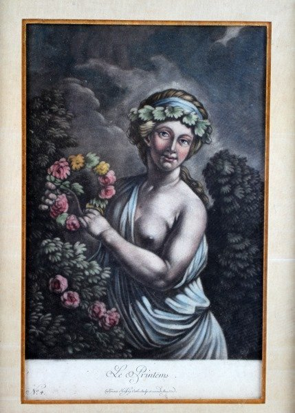 4 PIECE LOT OF VINTAGE FRAMED COLORED LITHOGRAPHS - 4