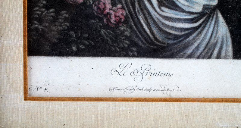 4 PIECE LOT OF VINTAGE FRAMED COLORED LITHOGRAPHS - 6