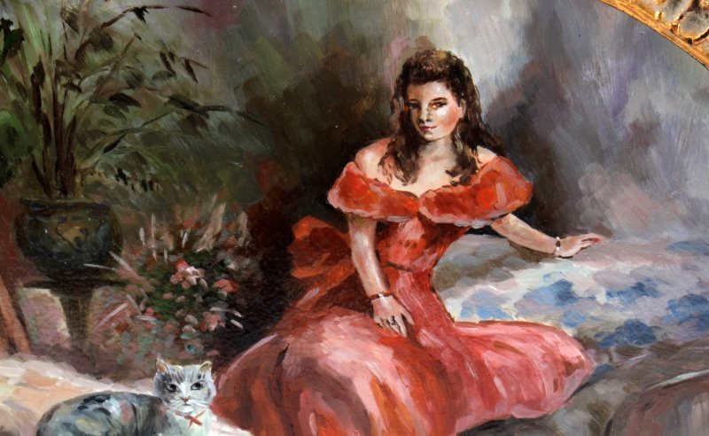 OIL ON PANEL PORTAIT OF A LADY WITH A CAT - 3