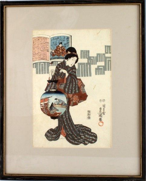 KUNISADA (1786-1865)  BEAUTY W/ LANTERN WOODBLOCK