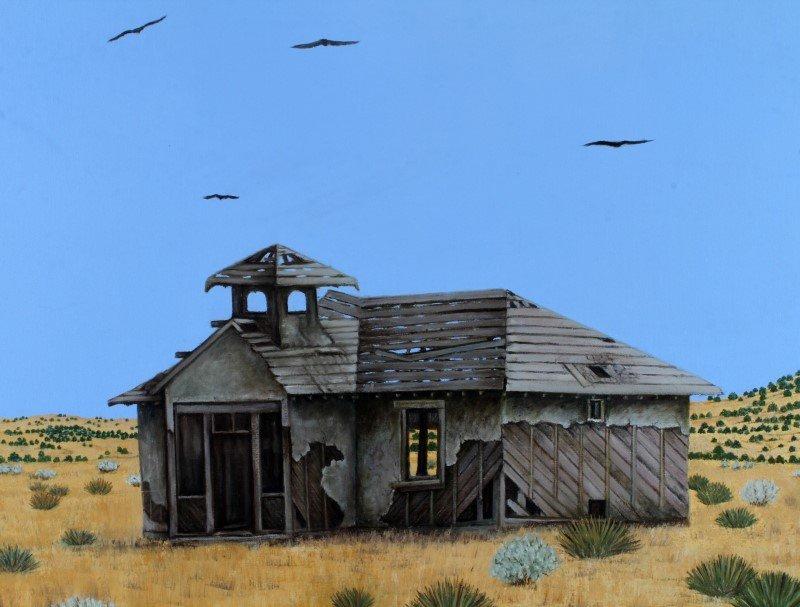TERI KNOX WESTERN ARTIST OIL ON CANVAS SCHOOL HOUS - 2