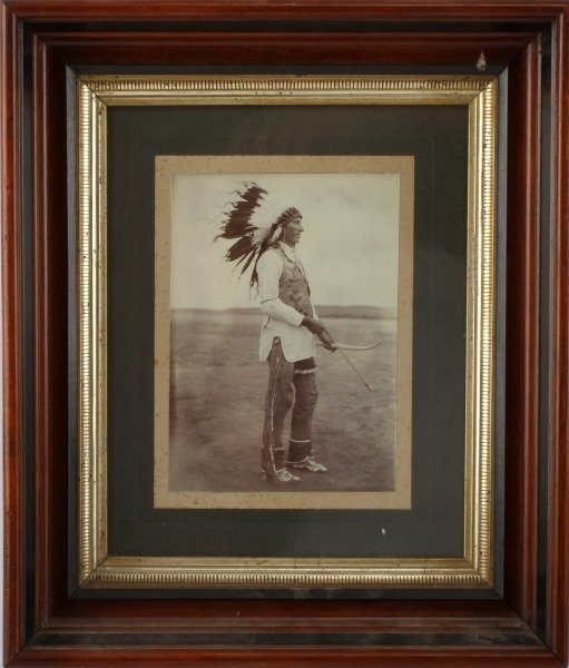 EARLY NATIVE AMERICAN PHOTO MAN BOW AND ARROW