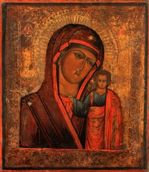 19TH CENTURY RUSSIAN ICON OUR LADY OF KAZAN
