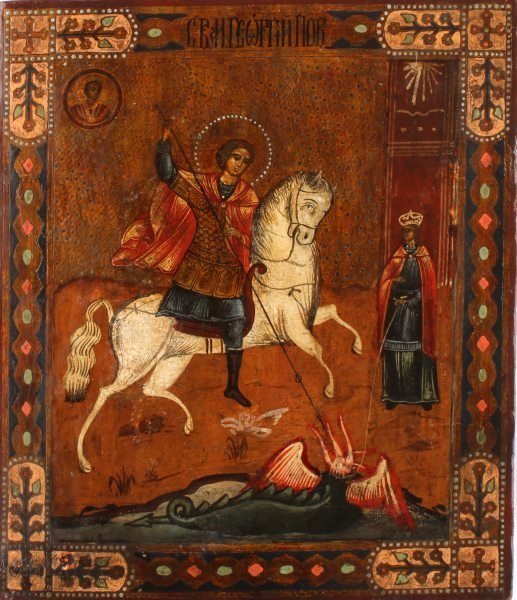 19TH CENTURY RUSSIAN ICON OF ST. GEORGE ON HORSE