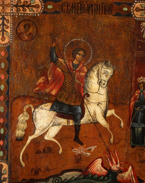 19TH CENTURY RUSSIAN ICON OF ST. GEORGE ON HORSE - 2