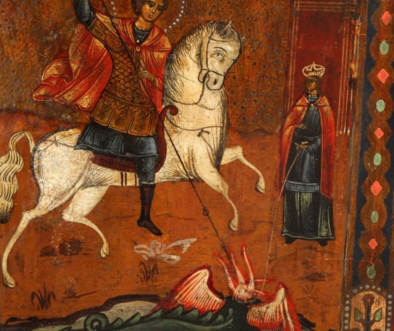 19TH CENTURY RUSSIAN ICON OF ST. GEORGE ON HORSE - 3