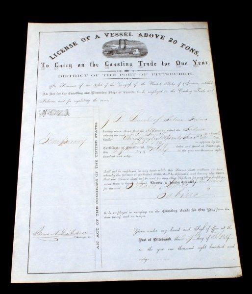 1860 STEAMBOAT LICENSE VESSEL SABINE