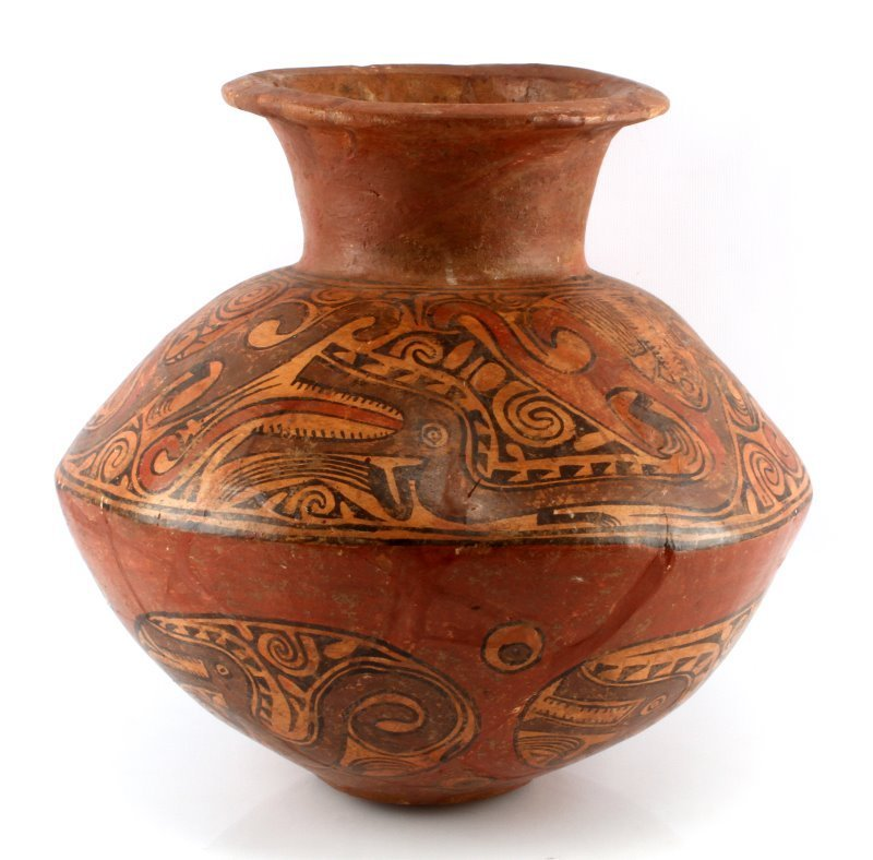 NATIVE PUEBLO POTTERY LARGE JAR VASE POLYCHROME