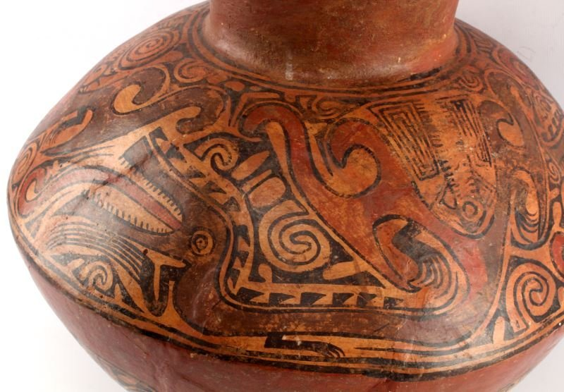 NATIVE PUEBLO POTTERY LARGE JAR VASE POLYCHROME - 2