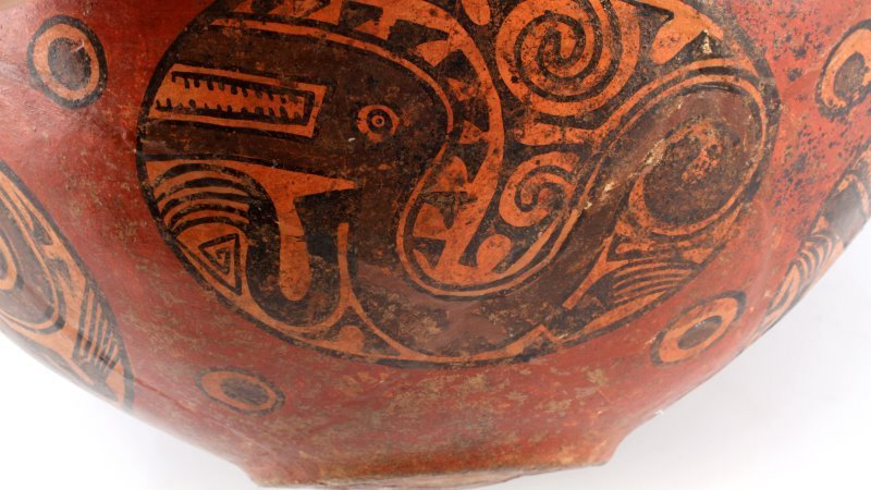 NATIVE PUEBLO POTTERY LARGE JAR VASE POLYCHROME - 5