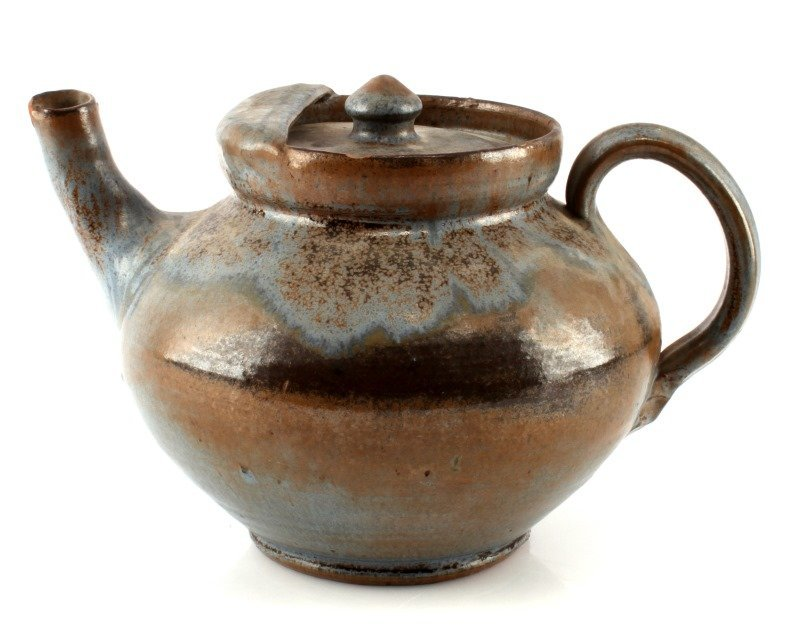A R COLE POTTERY CLAY TEA KETTLE WITH LID