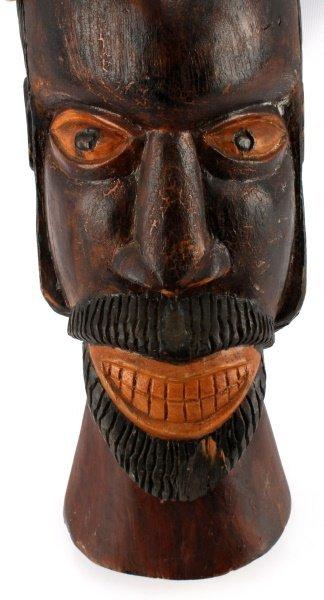 VINTAGE JAMAICA FOLK CARVED BEARDED MAN - 3