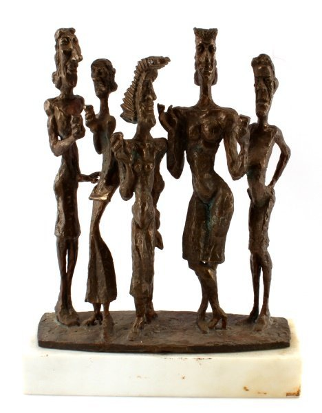 1980S SIGNED AND DATED BRONZE SCULPTURE ON MARBLE