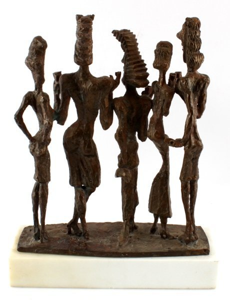 1980S SIGNED AND DATED BRONZE SCULPTURE ON MARBLE - 4