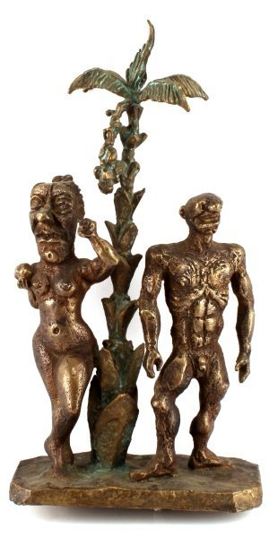 SIGNED & DATED BRONZE SCULPTURE OF ADAM & EVE - 3