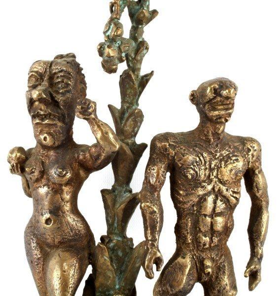 SIGNED & DATED BRONZE SCULPTURE OF ADAM & EVE - 4