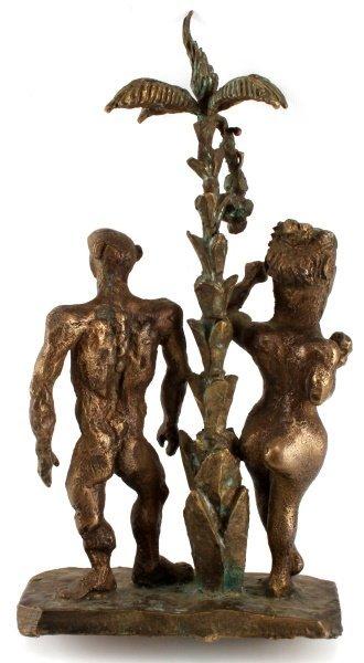 SIGNED & DATED BRONZE SCULPTURE OF ADAM & EVE - 5