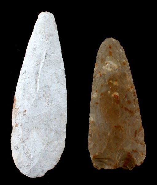 10 INCH & 8 INCH MAYA BELIZE LARGE LITHIC AX BLADE