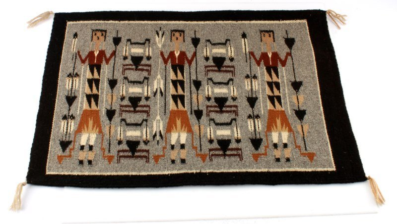 VINTAGE NAVAJO YEI WALL HANGING WOOL 26.5 BY 19.5""