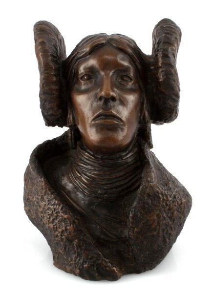BONDED BRONZE BUST OF NATIVE AMERICAN WOMEN