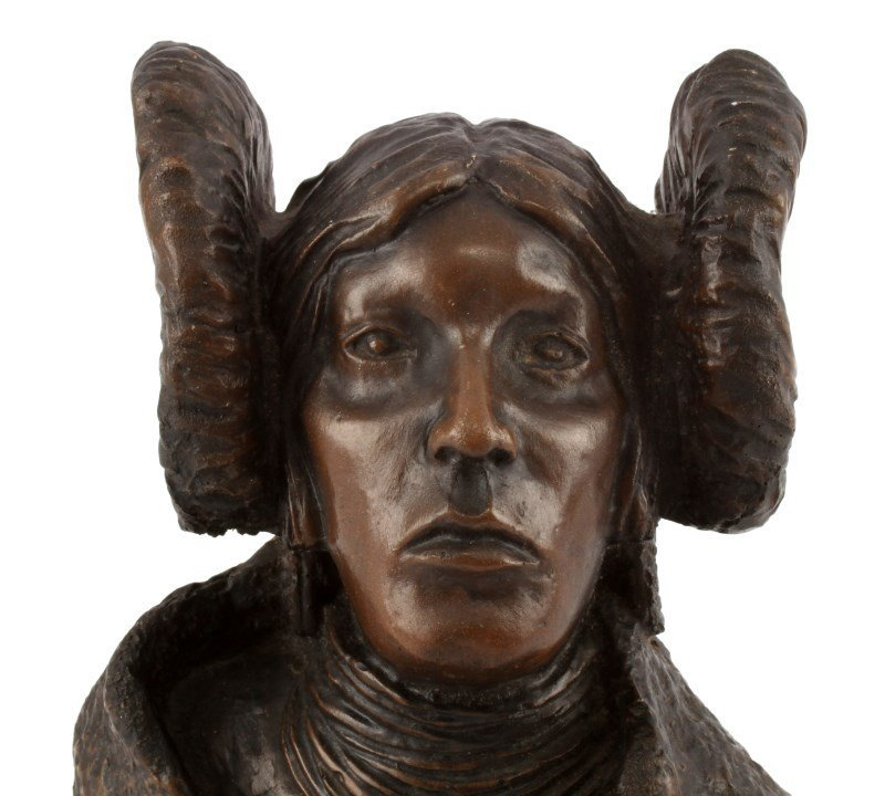 BONDED BRONZE BUST OF NATIVE AMERICAN WOMEN - 2