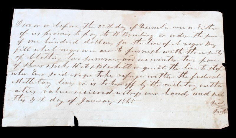 1865 SLAVE BOY HIRE DOCUMENT FOR $100 + CLOTHING